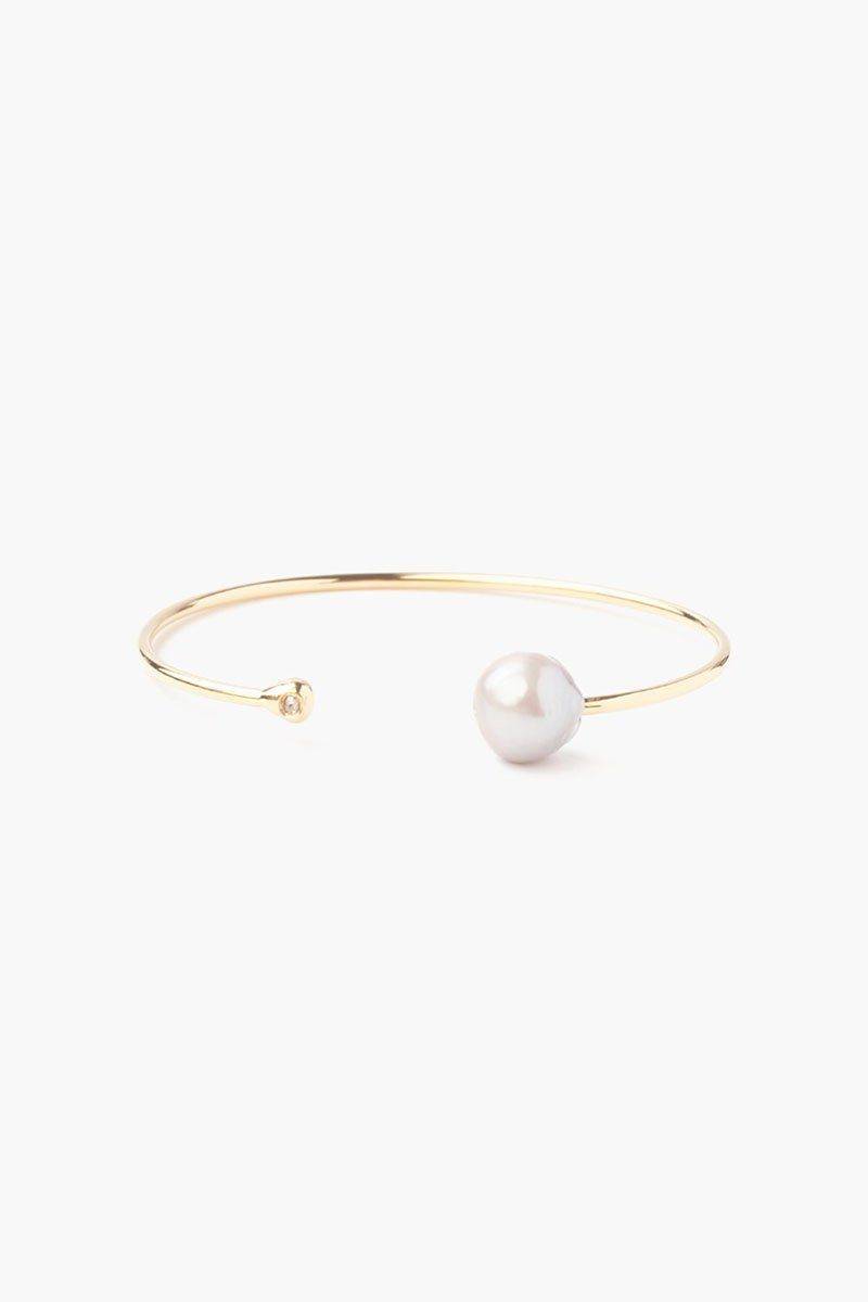 Grey Pearl and Gold Diamond Cuff