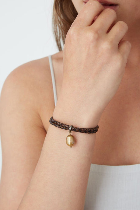 Dark Brown Leather Diamond Bracelet