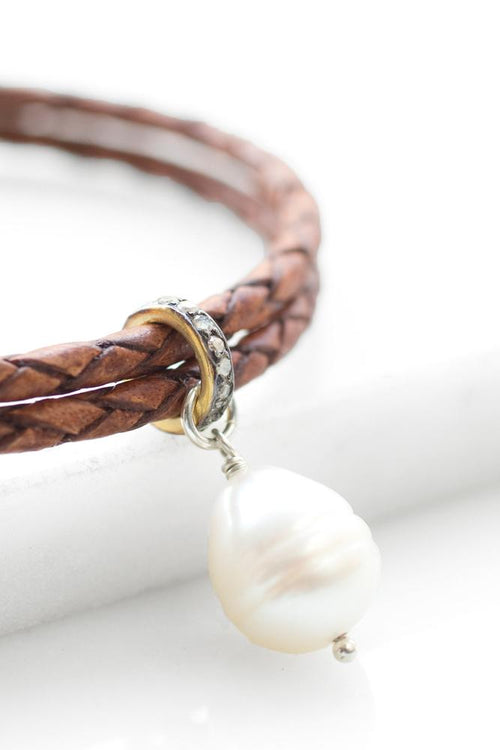 Light Brown Leather Diamond Bracelet
