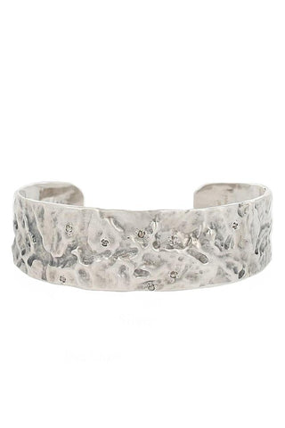 Silver Hammered Diamond Cuff