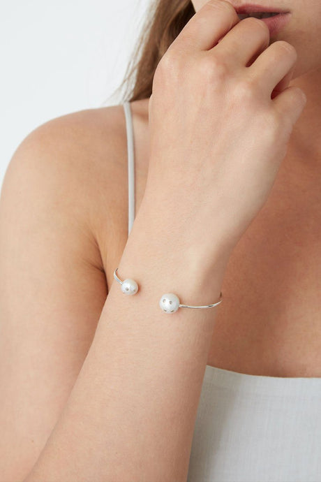 White Freshwater Pearl Embellished Cuff