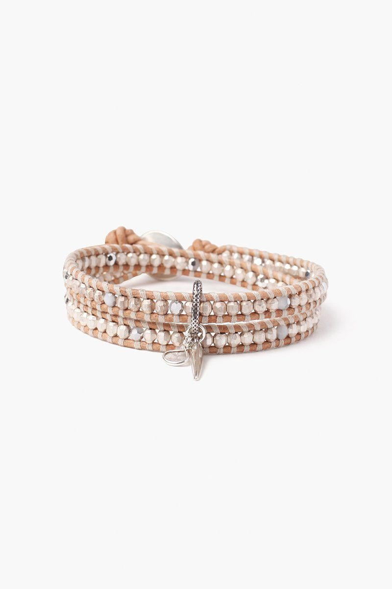 Silver Mix Charm Double Wrap Bracelet