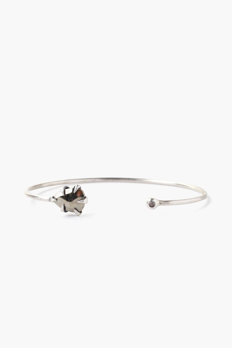 Pyrite Arrowhead and Champagne Diamond Cuff