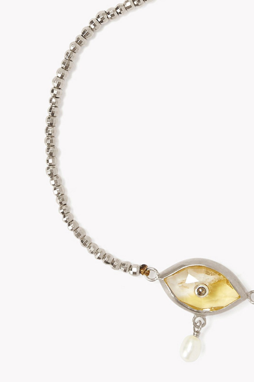 Pearl and Citrine Evil Eye with Champagne Diamond Silver Bracelet