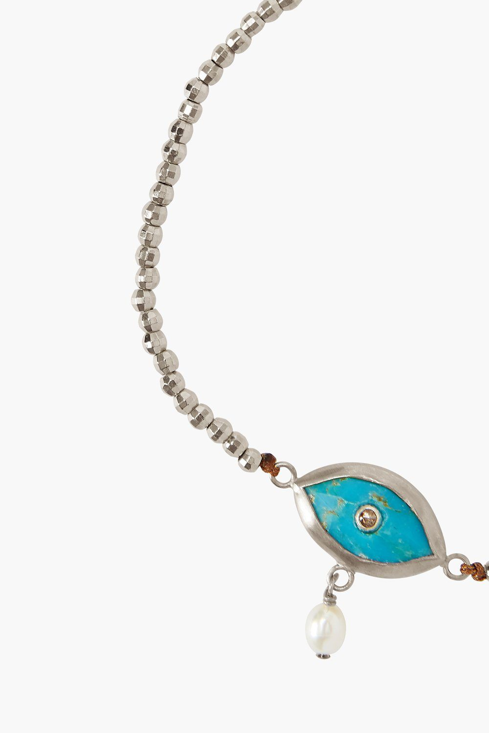 Pearl and Turquoise Evil Eye with Champagne Diamond Silver Bracelet