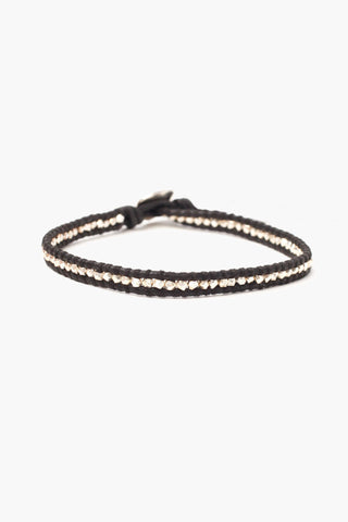 Silver Men's Single Wrap Bracelet on Natural Dark Brown Leather