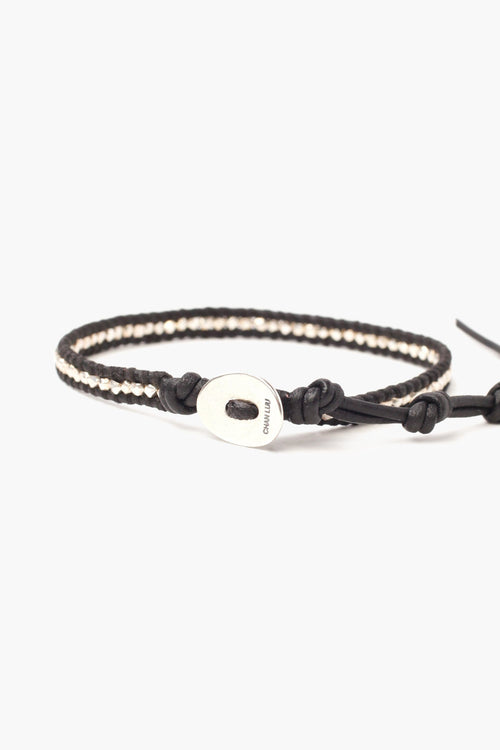 Silver Nuggets Single Wrap Bracelet on Natural Black Leather