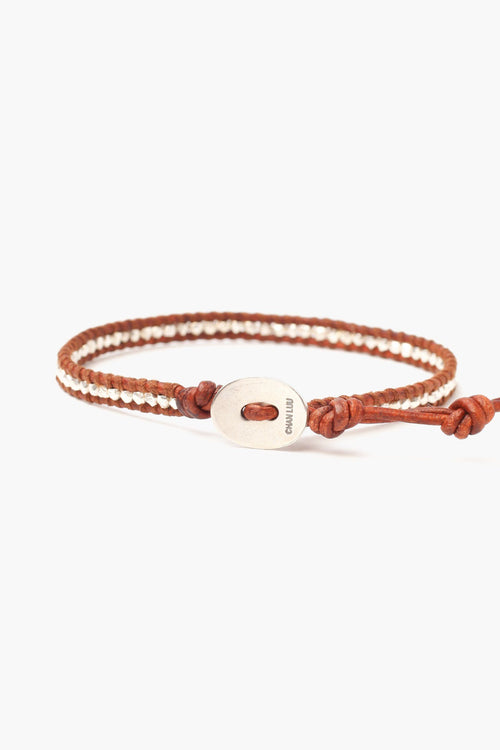 Silver Nuggets Single Wrap Bracelet on Natural Dark Brown Leather