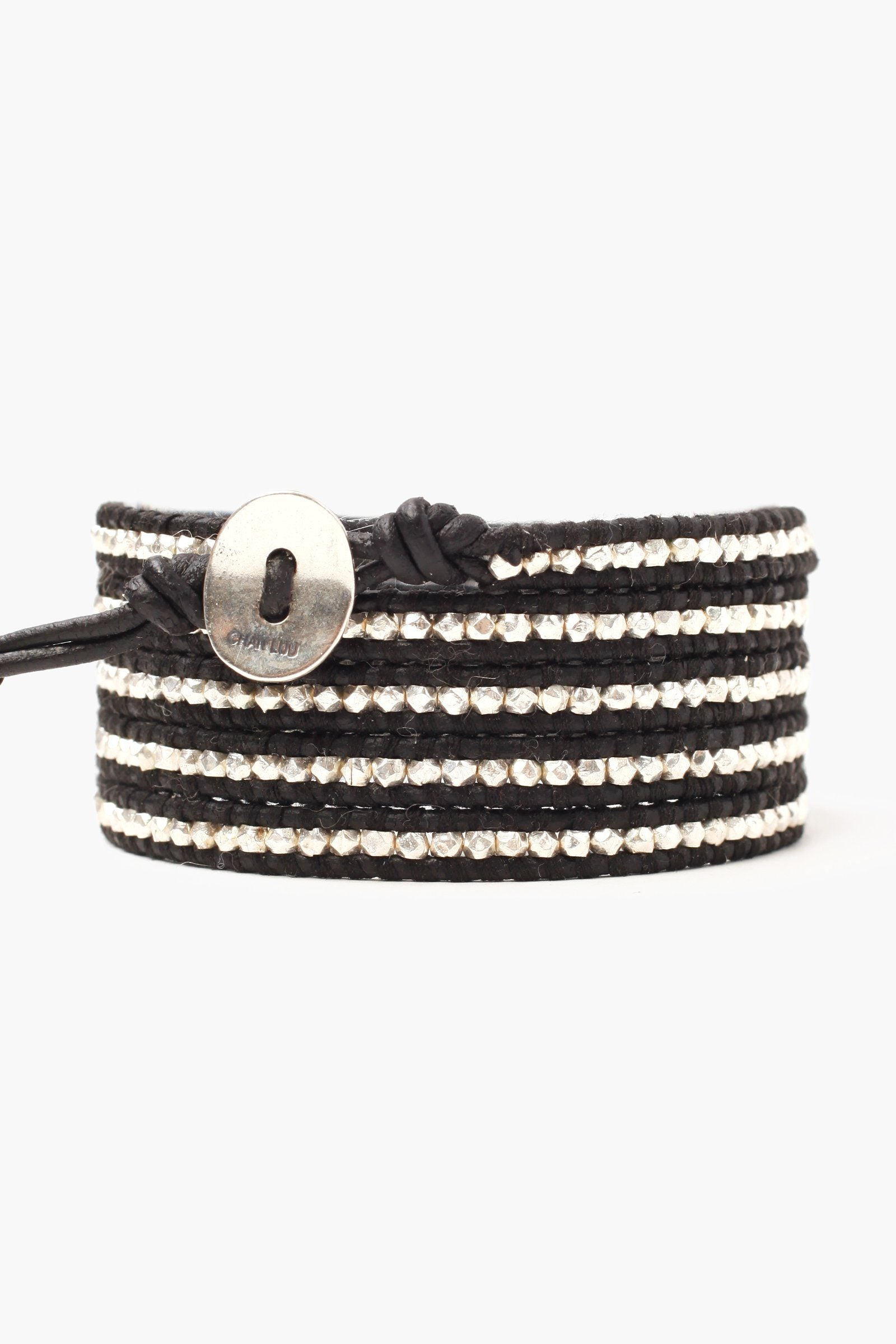 Sterling Silver Nugget Men's Five Wrap Bracelet on Natural Black Leather