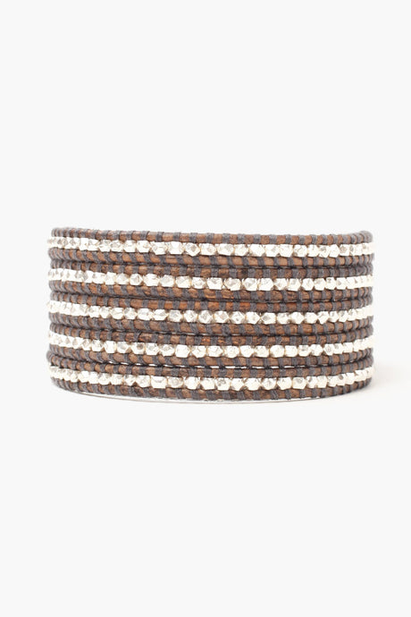 Sterling Silver Men's Wrap Bracelet on Natural Grey Leather