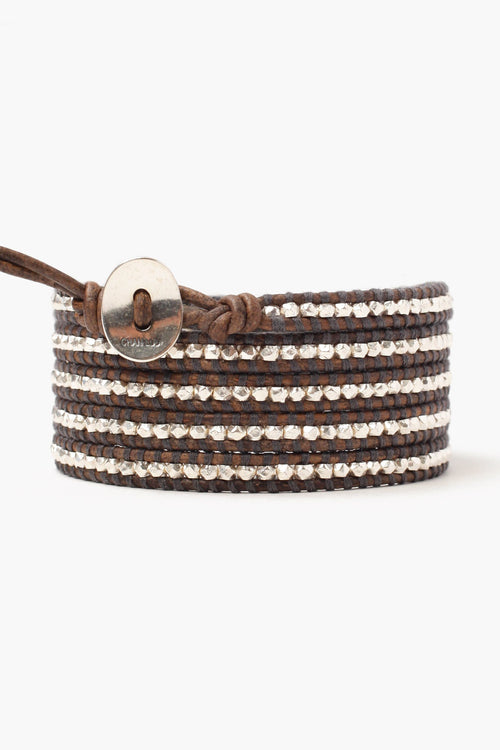 Sterling Silver Nugget Men's Five Wrap Bracelet on Natural Grey Leather