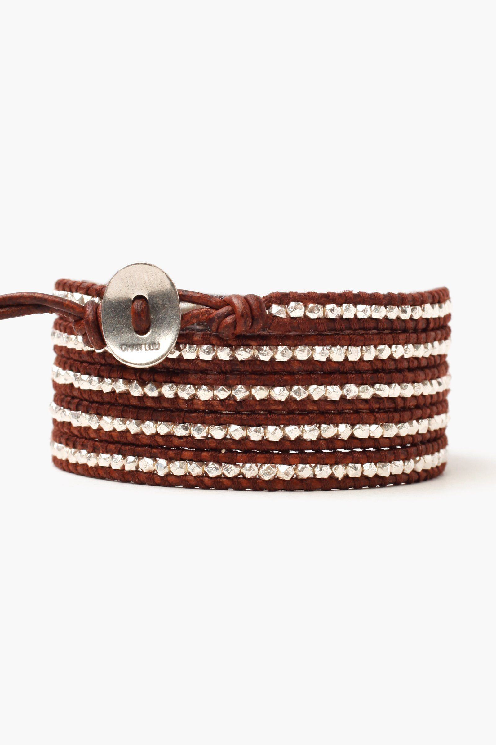 Sterling Silver Men's Wrap Bracelet on Dark Brown Leather