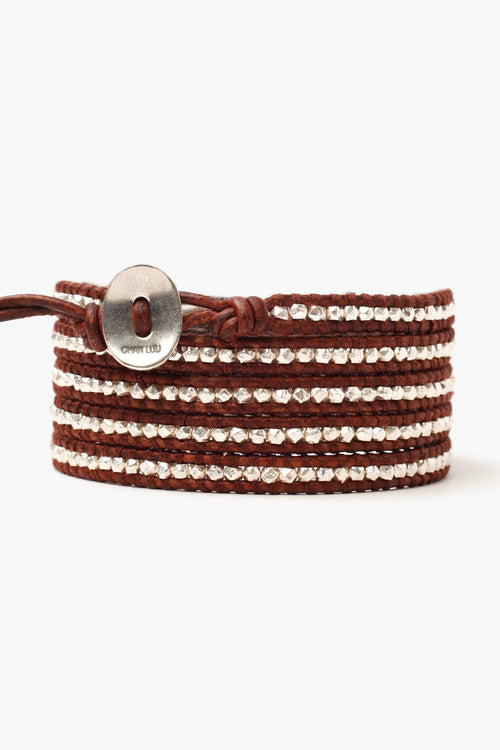 Sterling Silver Nuggets Five Wrap Bracelet on Dark Brown Leather