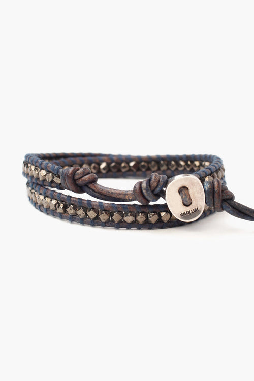 Gunmetal Nugget Double Wrap Bracelet on Natural Blue Leather