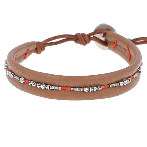 Silver Bead Wrap Bracelet on Thrush Leather