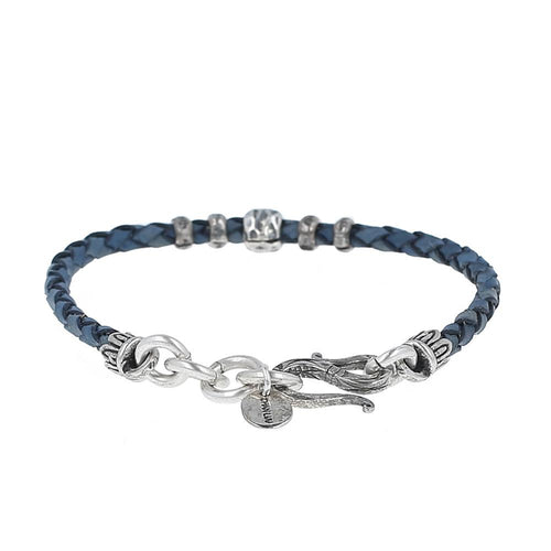 Natural Blue Braided Leather Bracelet