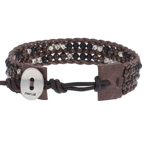 Brown Mix Leather Pull-Tie Bracelet