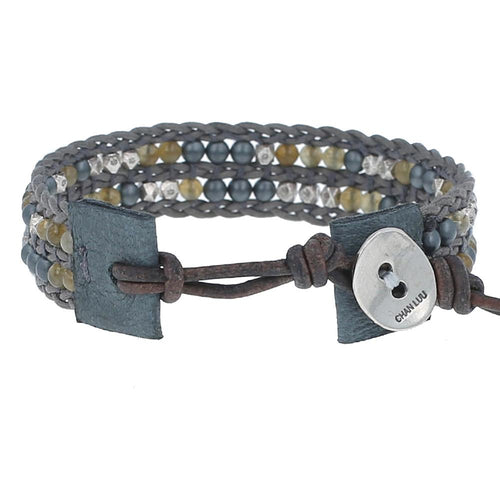 Grey Mix Single Wrap Bracelet on Sedona Sage Leather