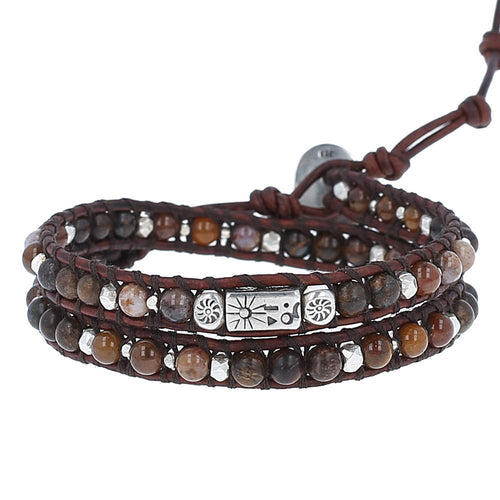 Brown Stone Mix Double Wrap Bracelet