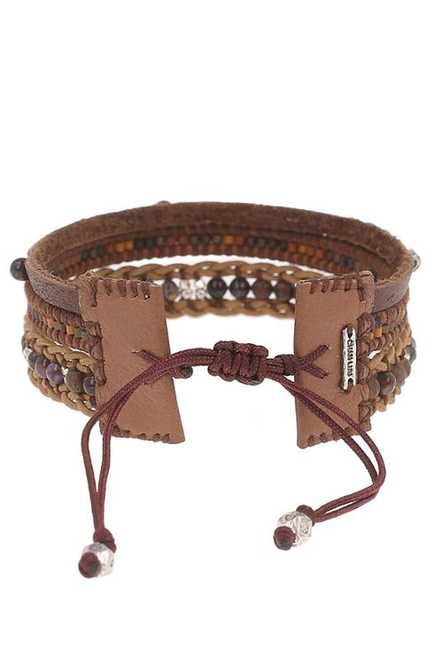 Brown Mix Pull-Tie Bracelet