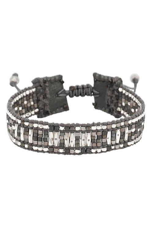 Grey Mix Pull-Tie Bracelet on Pewter Leather