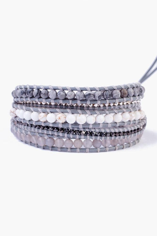 Matte Grey Picture Jasper Mix Five Wrap Bracelet