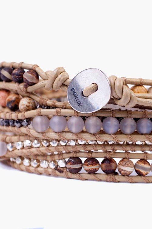 Matte Picture Jasper Mix Five Wrap Bracelet