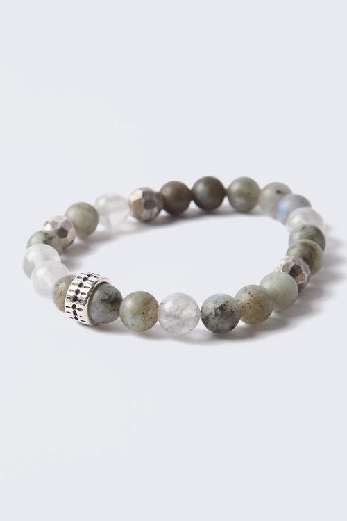 Matte Labradorite Mix Stretch Bead Bracelet