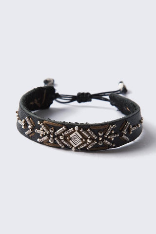 Silver Men's Single Wrap Bracelet on Natural Black Leather