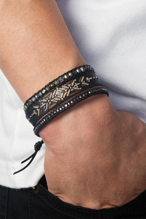 Black Mix Adjustable Leather Bracelet