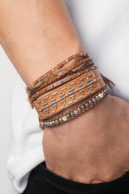 Tan Mix Single Wrap Bracelet