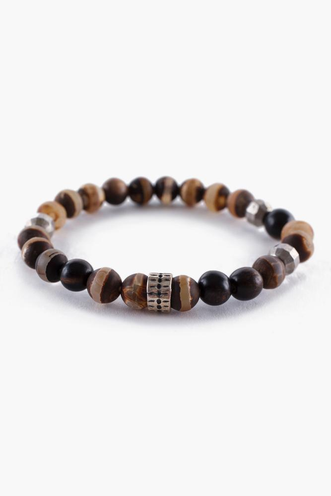 Matte Brown Agate Mix Stretch Bracelet
