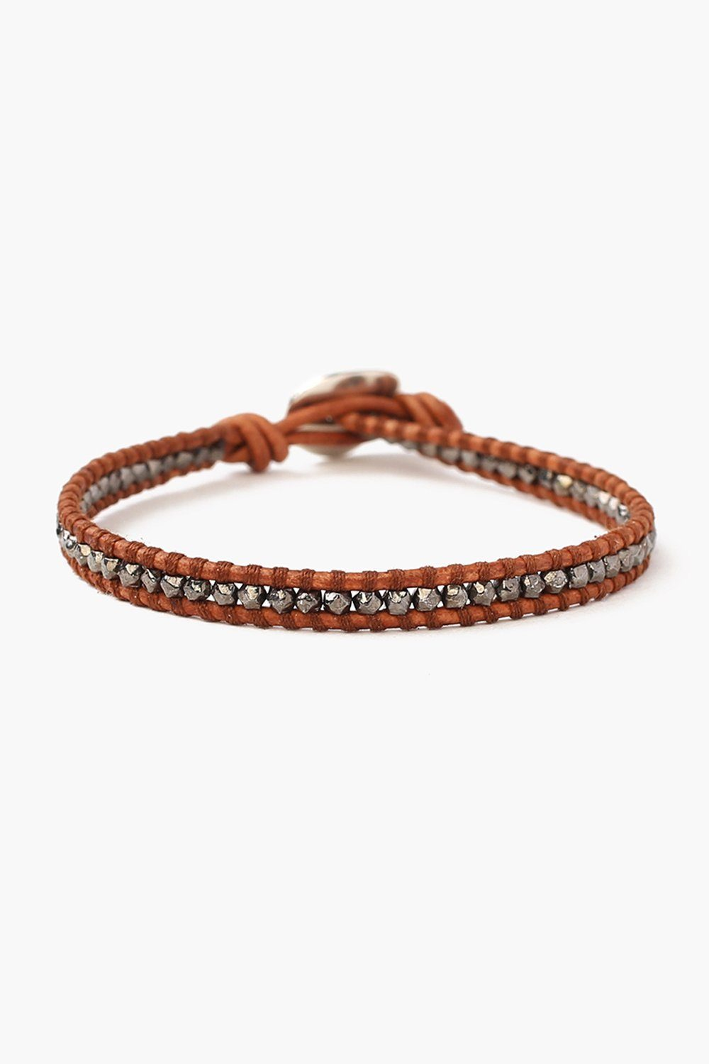 Men's Gunmetal Single Wrap Bracelet on Natural Brown Leather