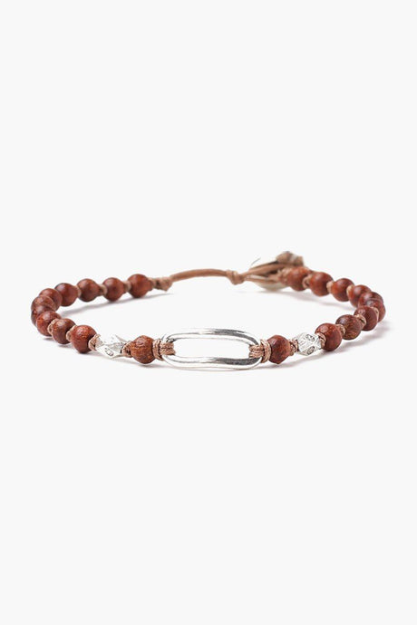 Brown Mix Wood Bead Single Wrap Bracelet