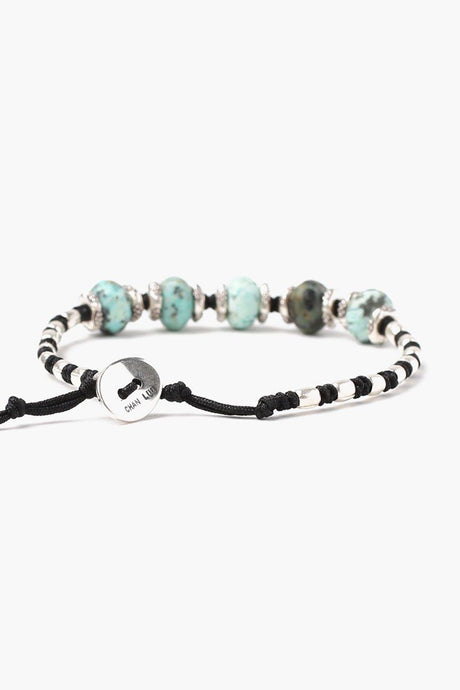 African Turquoise Mix Bead Single Wrap Bracelet