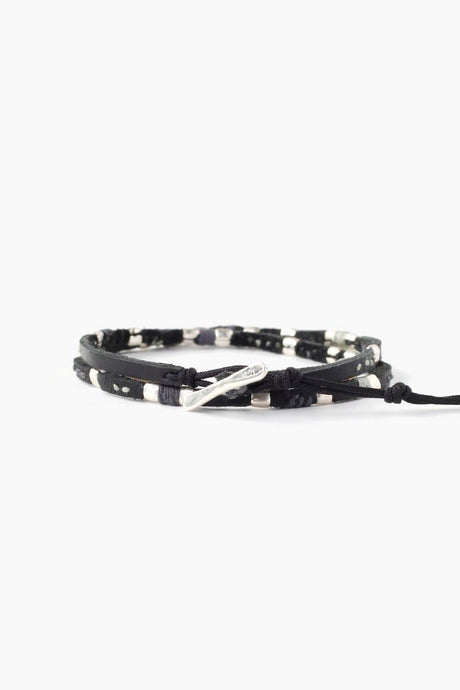 Black Mix Belting Leather Double Wrap Bracelet