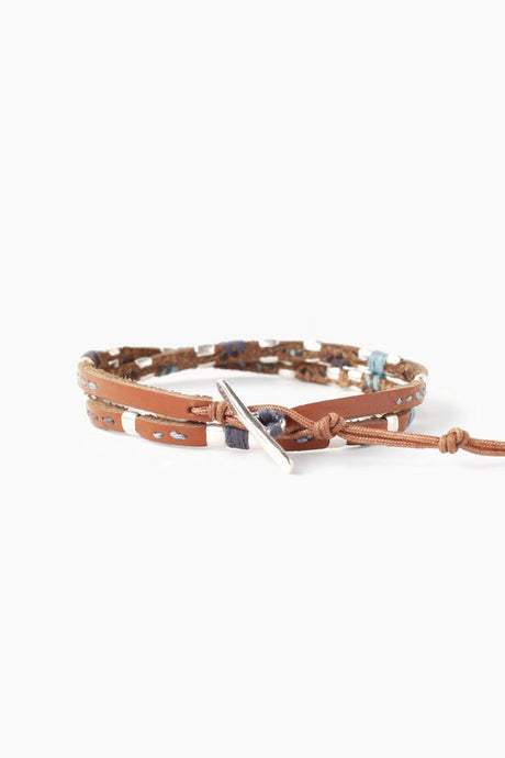 Natural Brown Mix Belting Leather Double Wrap Bracelet