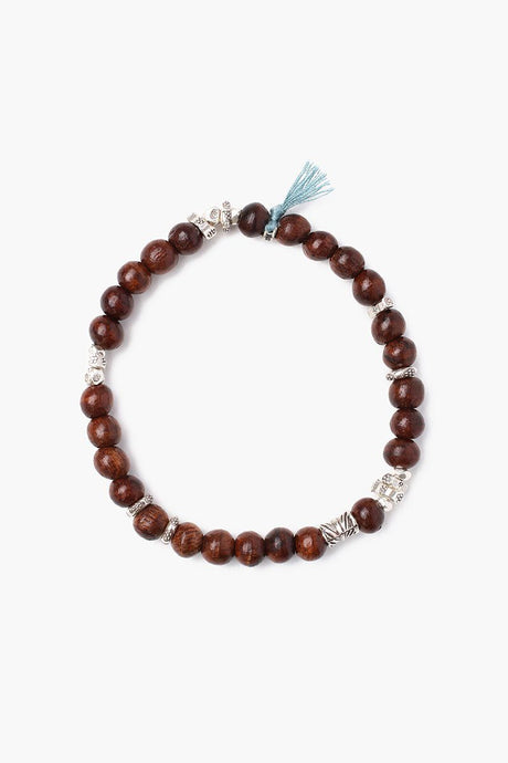 Teak Wood Stretch Bracelet With Tassel