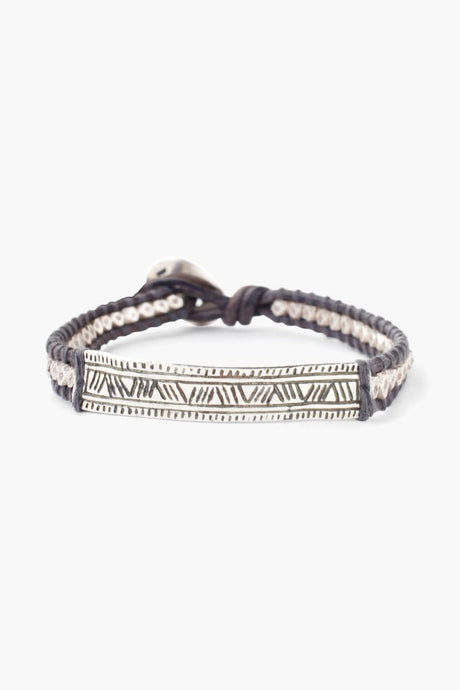 Natural Grey Bar Pendant Single Wrap Bracelet