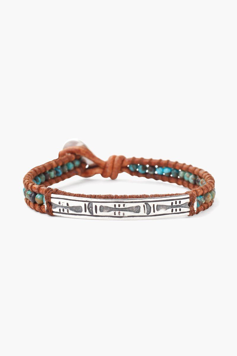 Compressed Turquoise Bar Pendant Single Wrap Bracelet