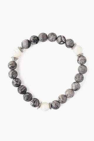 Matte Grey Picture Jasper Stretch Bracelet