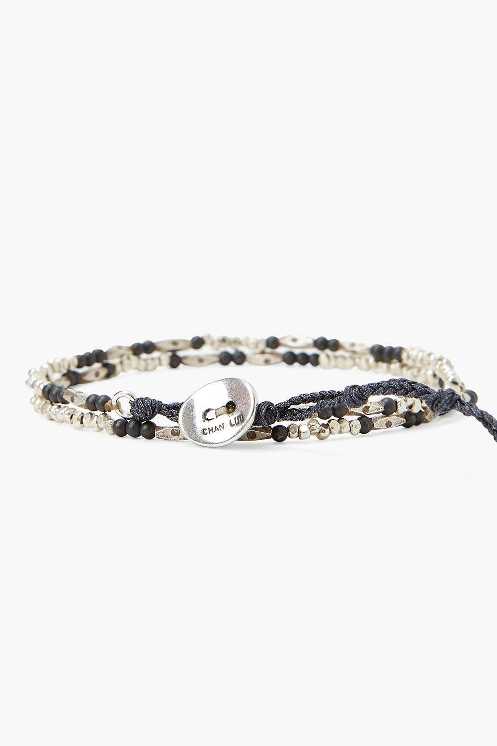 Hematine and Etched Silver Wrap Bracelet
