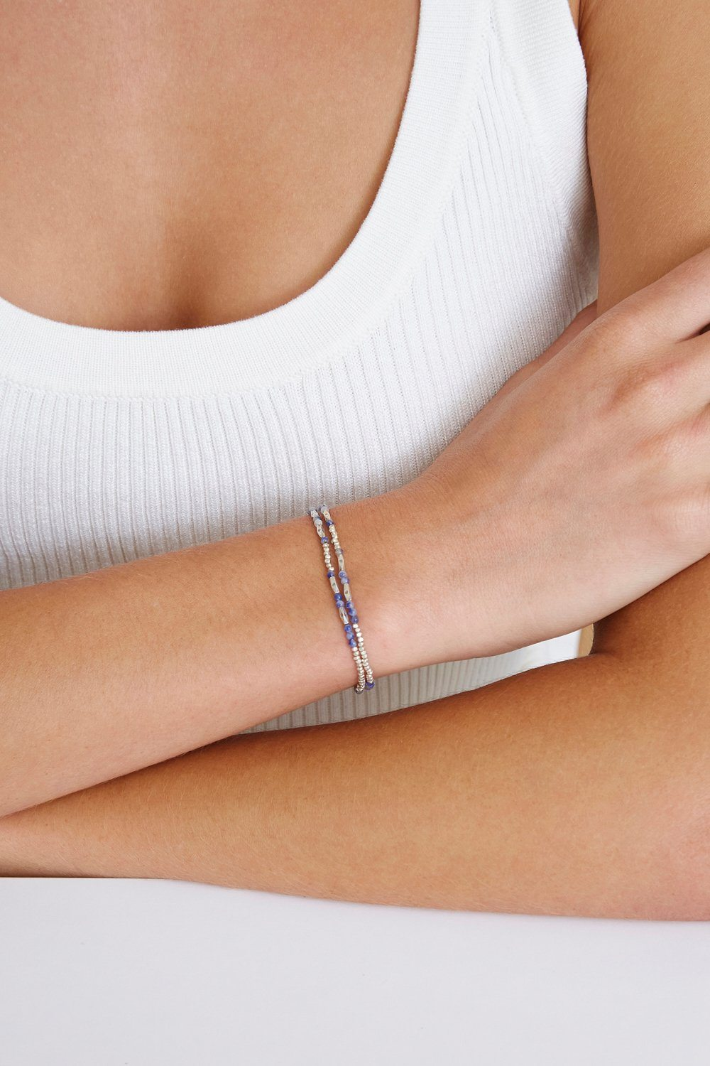 Sodalite and Etched Silver Wrap Bracelet
