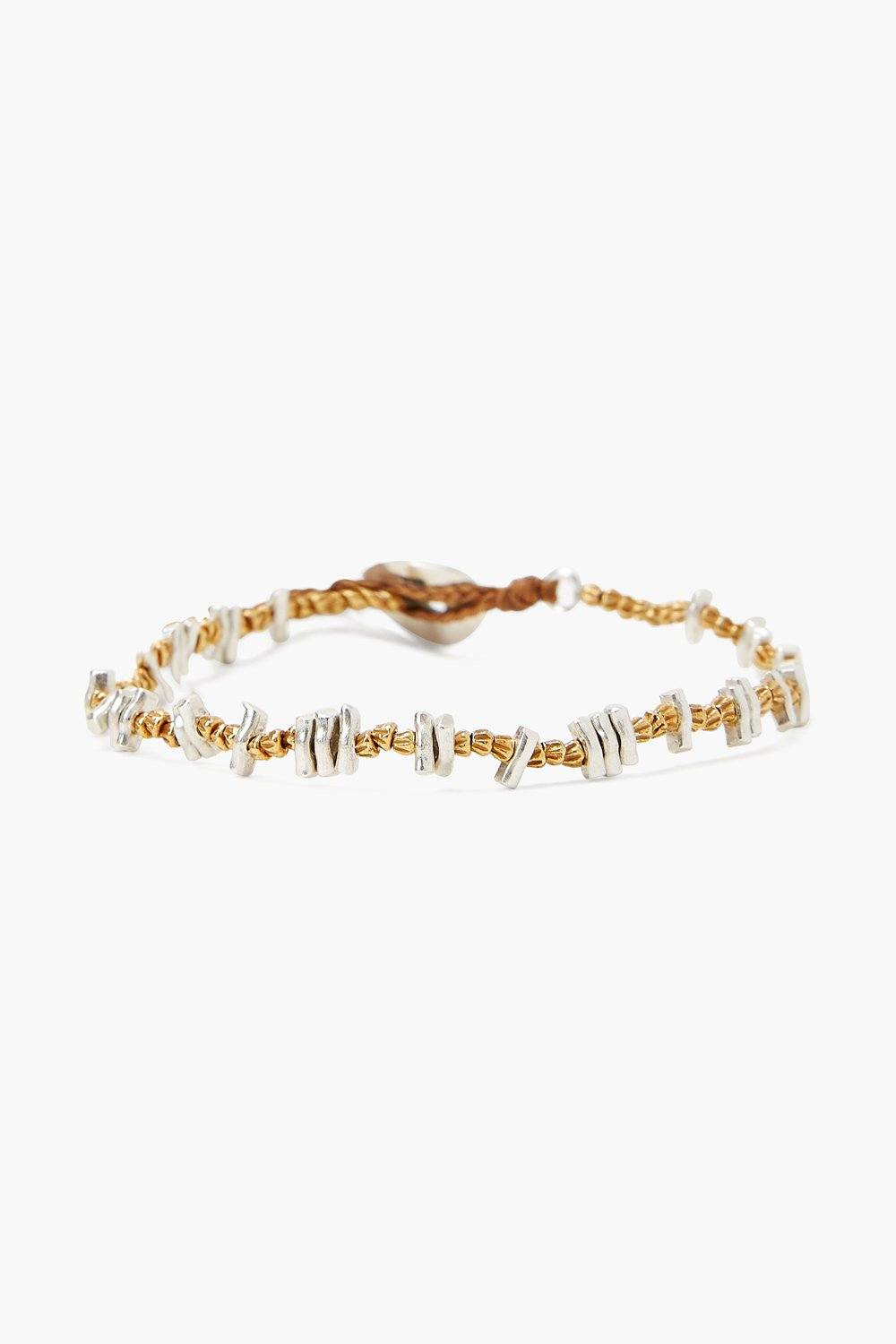 Etched Silver and Gold Nugget Bracelet