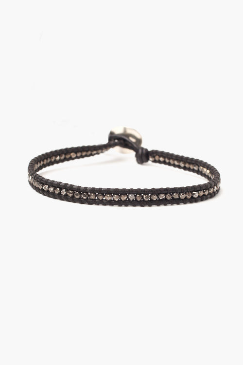 Gunmetal Nugget Men's Single Wrap Bracelet on Black Leather