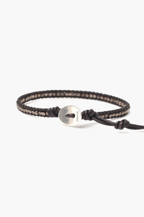 Gunmetal Nugget Single Wrap Bracelet on Black Leather (Pre-Order)