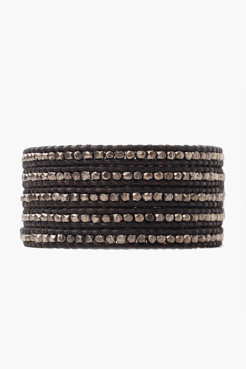 Gunmetal Nugget Men's Five Wrap Bracelet on Black Leather