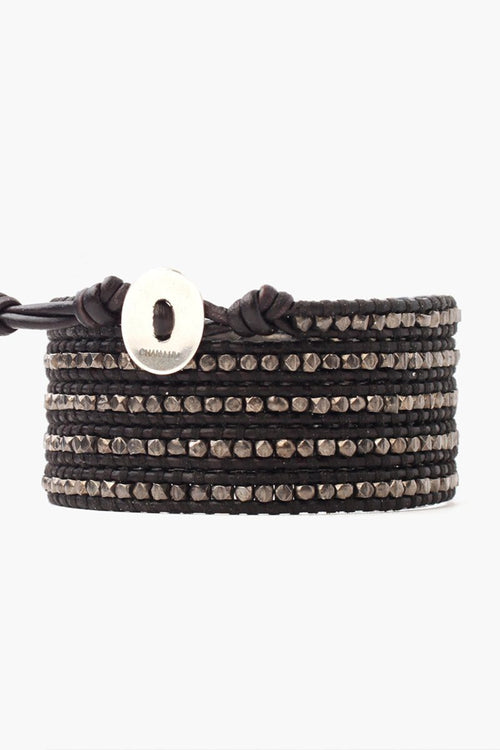 Gunmetal Nugget Five Wrap Bracelet on Black Leather