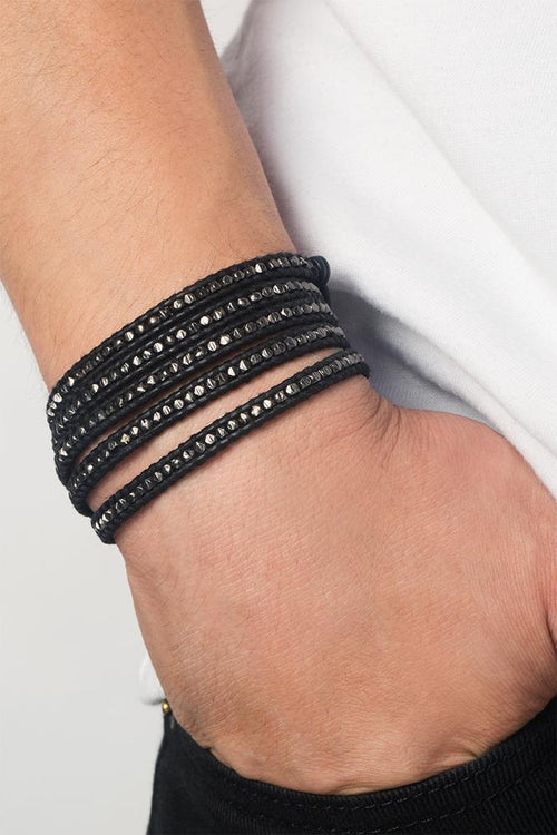 Gunmetal Men's Wrap Bracelet on Black Leather