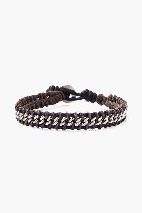 Black Mix Chain Single Wrap Bracelet
